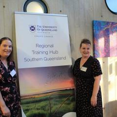 UQRCS Research Coordinator Janelle McGrail and UQRTH Southern Queensland Program Officer Rosie Wagner at the event.